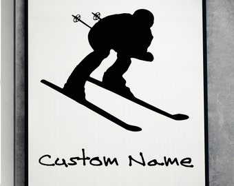 Personalized Custom name skier Wall Art print home decor poster