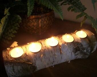"Set of 6 Birch bark logs 12"" long with 5 tea light Candle Holder, Weddings,Decoration"