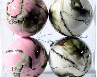 Next Camo Pink and White Christmas Ornaments