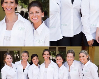 Personalized, Future Mrs, Bride to be, Bridesmaid, Monogram, Embroidered, Bridal gear, Wedding day, Bridal Party, Long-sleeve, Button-up!