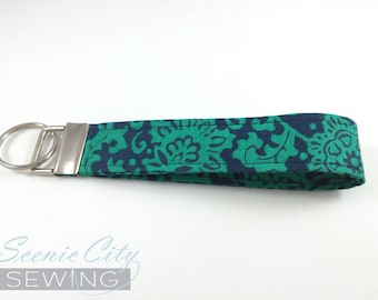 Green and navy key fob | wristlet keychain