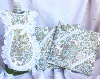Teal Flower Dish Soap Apron and Hot Pad Set