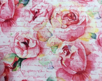 Valentine Fabric / By the Yard / Beautiful Pink Flowers / Cotton/SALE