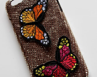 Iphone decor embroidered patches- leather Case -iphone leather cover- iphone 6 plus cover- iphone 5 case- Leather iphone Hard Case Cover