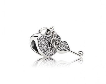 PANDORA Lock of Love Charm,791429CZ,Sterling Silver,Bling,Pandora Gift Box,Mothers Day