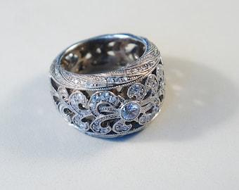 Extremely Large Ring - 18K White Gold - Very Big Ring - Diamond Ring