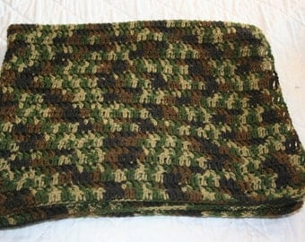 Camouflage baby afghan