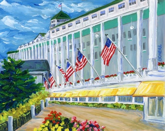 Grand Hotel, Mackinac Island, Victorian, Summer Vacation, American Flags
