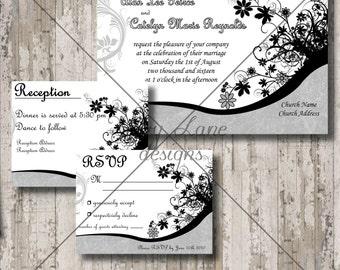 "Wedding Invitation/RSVP/Reception Card ""Black Buckle Poppy"""