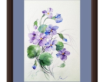 Wild Violet flowers. Violet painting. February birthday flower. February gift. Original painting. Original watercolor.Purple flower painting
