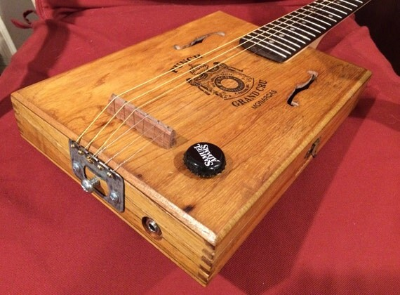 6 string electric acoustic cigar box guitar