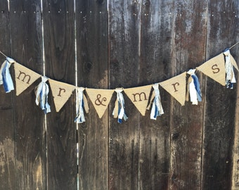 Mr. & Mrs. Banner, Burlap Banner, Country Wedding, Engagement Banner, Wedding Banner, Head Table, Rustic Wedding, Photo Prop, Rustic Banner