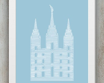Salt Lake Temple Line Art