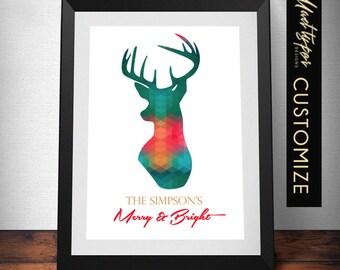 Christmas Deer Print - Merry & Bright