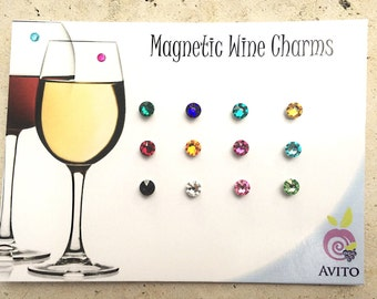 Authentic Swarovski Crystals Magnetic Wine Charms - Set of 12 - Stemless Wine Charms - Glass Tags - Christmas Gift Set - Glass Markers