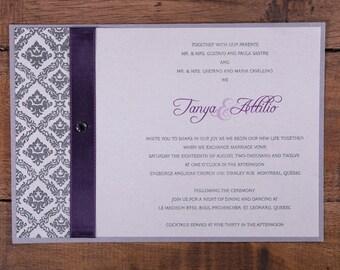 Purple and Silver Wedding Invitation, Damask Design Wedding Invitation, Shabby Chic Wedding Invitation, Purple Wedding Invitation, invites
