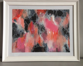Original Abstract Painting with Geometric Detail, Framed