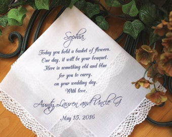 Flower Girl Handkerchief - Today you hold a BASKET of FLOWERS - custom PRINTED wedding hankie, hanky, gift, favour LS5FCA