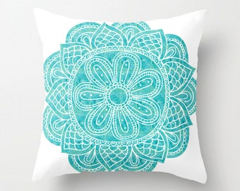 Blue Mandala Throw Cushion Pillow Case. Watercolor Mandala. Turquoise and White
