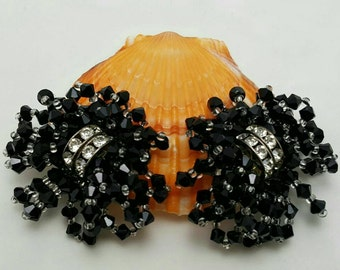 Black Glass Beaded Earrings