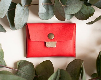 Vermillion leather wallet