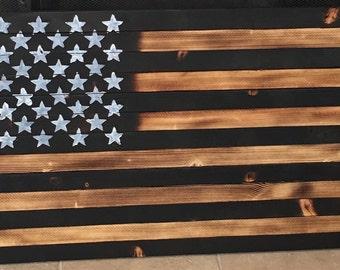 SALE!! Wood burned flag