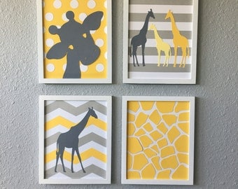 Giraffe Nursery Art Yellow Grey Gray Framed Set of 4 8x10 handmade baby girl art modern nursery art set chevron striped polka dots