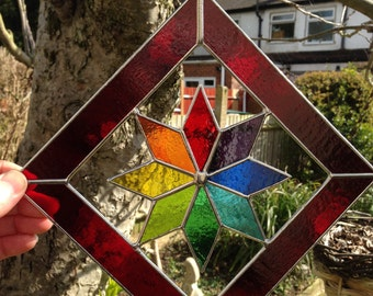 Stained Glass Suncatcher Multi Colour Star Panel Stained Glass Panel Garden Art Panel - CRhodesGlassArt