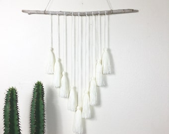 Driftwood & Cream Yarn Tassel Wall Hanging