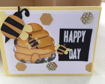 Interactive Shaker Card - Happy Bee Day greeting card - Happy Birthday Card - 3D card - funny card to make you smile