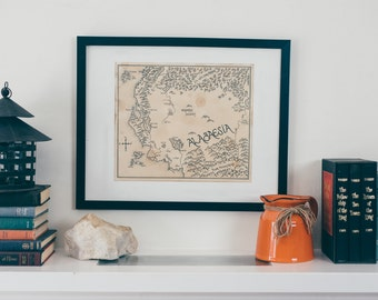 Map of Alagaesia from Eragon: Aged, Handmade, Hand drawn, Authentic Gift
