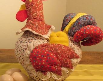 Vintage Handmade Calico Hen Doorstop, Fabric Chicken, Vintage Chicken Doorstop, Calico Hen with Felt Chicks, Farmhouse Doorstop, Country Hen