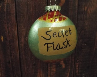 Hand Painted Secret flask Christmas Tree Ornament