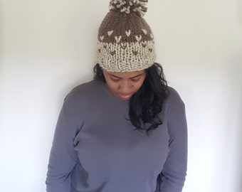Fair Isle Knit Slouchy Beanie Hat With Large Pompom//THE COAST2COAST//Oatmeal and Taupe