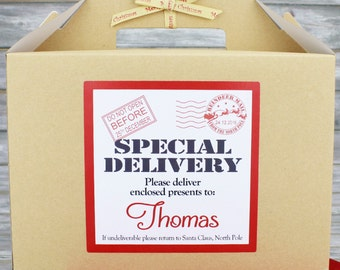 Personalised Large Christmas Box, Kraft Brown with Merry Christmas Ribbon,Special Delivery Design