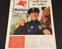 "Vintage 1941 ""Traffic Cop"" Advertisement for Mobilgas - Original 11 x 14 Ad"