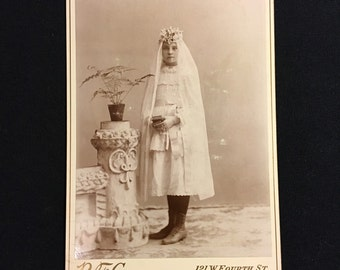 Girl's First Communion Cabinet Card, Antique Religious Photograph