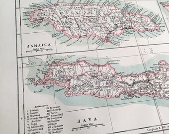 1889 Vintage Map of Jamaica, Java, and Bali - Original Antique Color Map Print