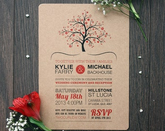 Rustic Tree Postcard Wedding Invitation Printed On Kraft Paper, 5x7 Custom Printable Invitation, Typography Wedding Invitation