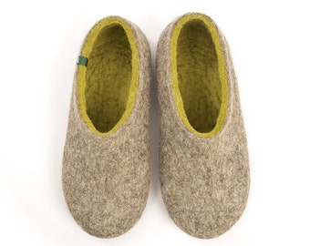 Women's Eco Felted Slippers, woolen clogs, natural sheep wool lime green merino, handmade by Wooppers Woolen Slippers. Seamless luxury