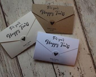 Personalised Wedding favour tissue holders- Happy Tears- Love letter range