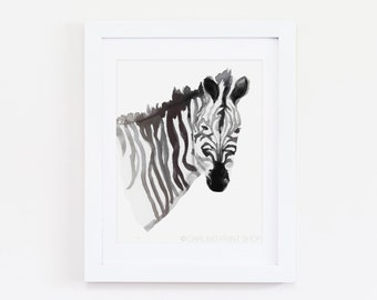 "8 x 10 ""Zebra"" Safari Animal Watercolor Art Print - Black and White"