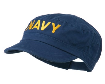 Navy Embroidered Enzyme Army Cap