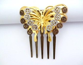 Golden Butterfly Steampunk CombHair_H011586_Hair Accessories_Combs_Steampunk Butterfly_Gift Ideas
