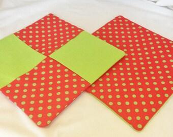 Potholder/Trivet Set- Lime Green & Red Polka Dots