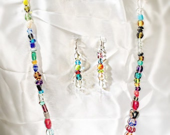 Glass Confetti Necklace and Earring Set