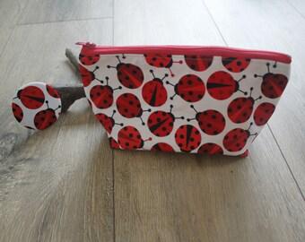 Ladybird mirror and bag set, ladybug gifts, ladybird gifts, cosmetics bag, make up bag, wash bag, zip bag, ladybird print, ladybug print