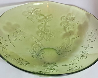 A Beautiful Vintage Large Green Glass Bowl