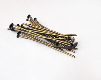 CEF11 - Lot of nails of 40mm rods to head Plate color Bronze / 40mm Metal Bronze Head Pins