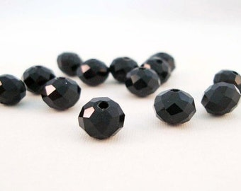 PSM16 - 10 beads gemstone Rondelle 4X6mm or 75xmm 8x6mm black faceted crystal glass / 10 Pieces Black Glass Crystal Faceted Beads